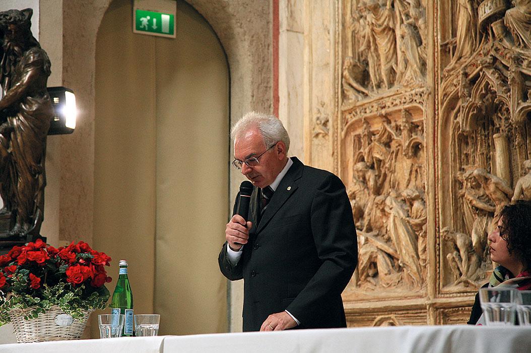 Inaugurazione, il presidente della Fondazione Pogliaghi Giuseppe Battaini